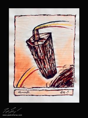 Elemento Aire. Técnica mixta sobre papel. 45x32 cm.