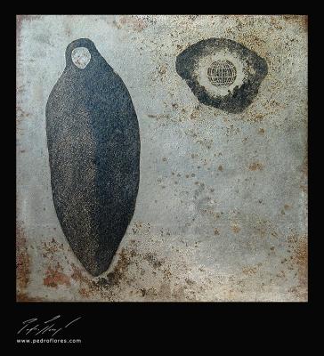 Brut # 1.3. Aguafuerte sobre plancha de hierro. 40x40x0.5 cm.