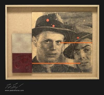 El beso de la muerte. Monotipo, pintura y collage sobre madera. 43x65 cm.