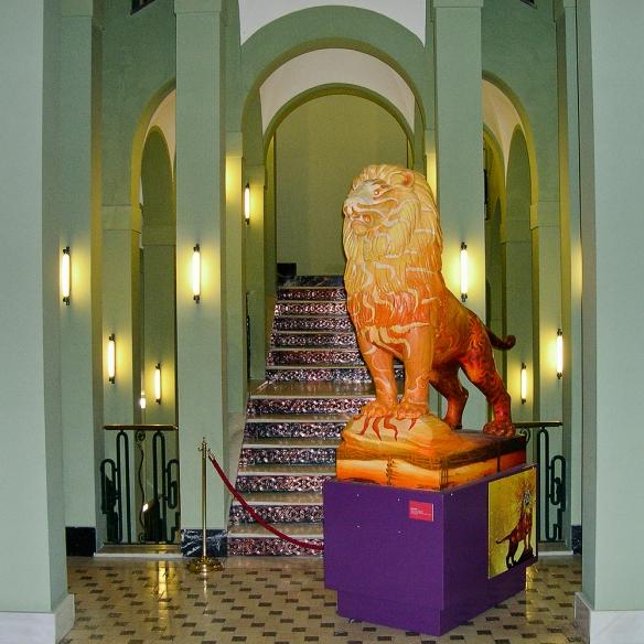El león como símbolo pintado en la exposición Genius Loci.