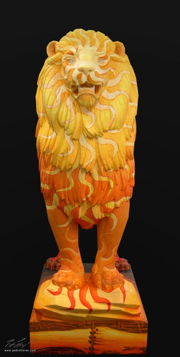 El león como símbolo pintado. Vista frontal.