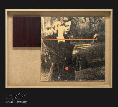 El sueño eterno # 1. Monotipo, pintura y collage sobre madera. 43x59 cm.