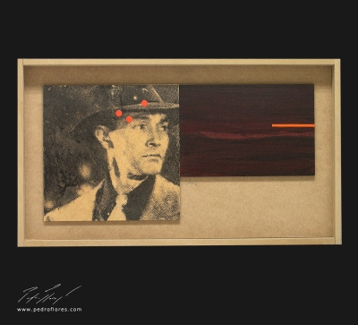 El sueño eterno # 2. Monotipo, pintura y collage sobre madera. 28x50 cm.
