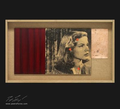 El sueño eterno # 3. Monotipo, pintura y collage sobre madera y cobre. 28x50 cm.
