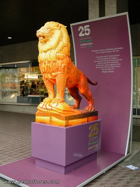 Exposición El león como símbolo pintado en Glorieta Sasera, Zaragoza.