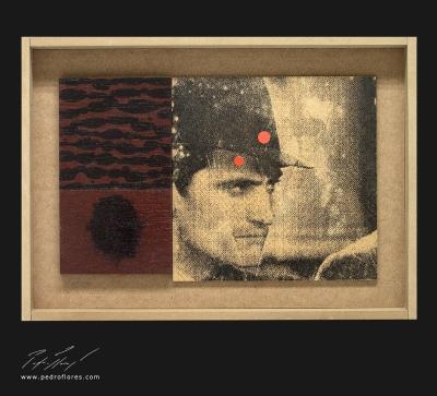 Furia. Monotipo, pintura y collage sobre madera. 28x40 cm.