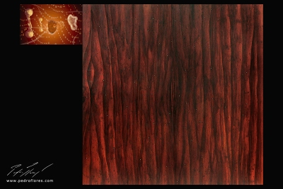 Fusión. Técnica mixta sobre madera, glicée sobre lienzo. 120x157 cm.