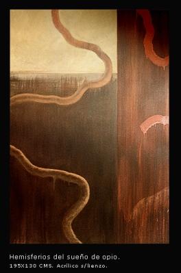 Hemisferios del sueño de opio. Acrílico sobre lienzo. 195x130 cm.