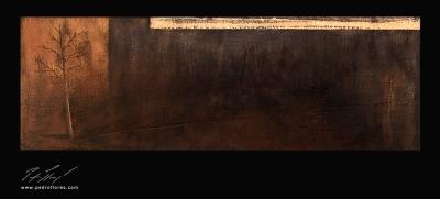 Istmos # 2. Técnica mixta sobre madera. 40x120 cm.