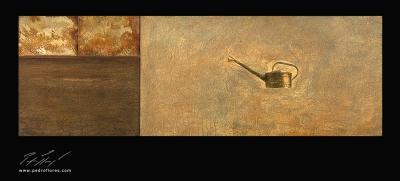 Istmos # 3. Técnica mixta sobre madera, collage, aguafuerte sobre hierro. 40x120 cm.