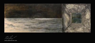 Istmos # 4. Técnica mixta sobre madera, collage. 40x120 cm.