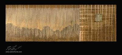 Istmos # 8. Técnica mixta sobre madera, aguafuerte sobre hierro. 40x120 cm.
