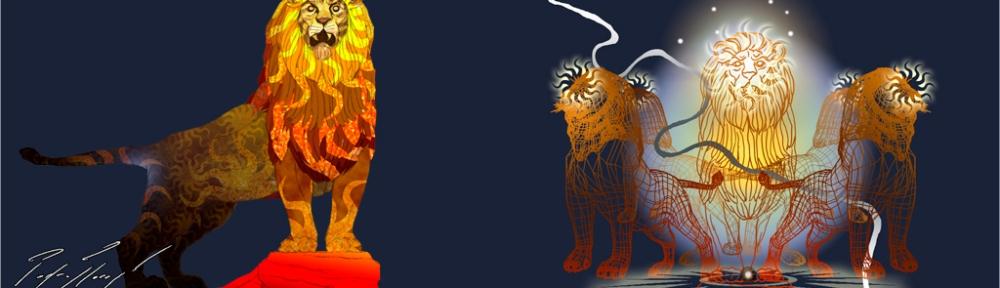 Leones cardinales. Collage digital.