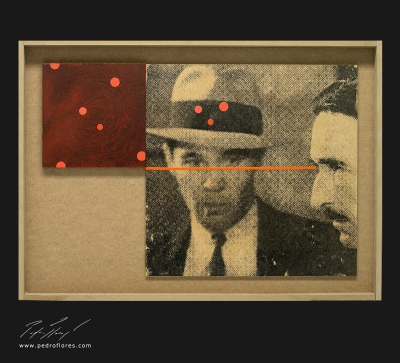 Obsesión. Monotipo, pintura y collage. 43x61 cm.