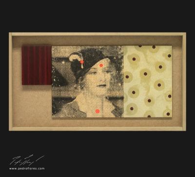 Perlas. Monotipo, pintura y collage sobre madera. 28x52 cm.