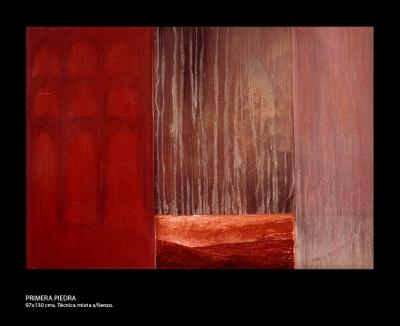 Primera piedra. Técnica mixta sobre lienzo. 97x130 cm.