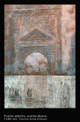 Puerta adentro, puerta afuera. Técnica mixta sobre lienzo. 73x60 cm.