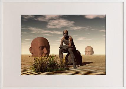 Obra presentada a concurso: Reconstrucción # 1. Glicée sobre papel, 50x70 cm.