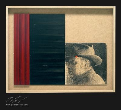 Sed de mal. Monotipo, pintura y collage sobre madera. 43x55 cm.