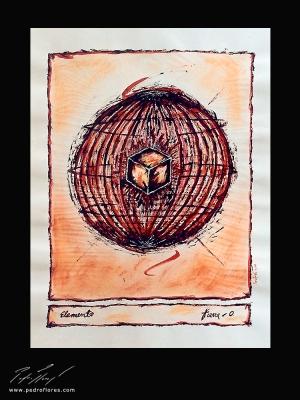 Elemento Tierra. Técnica mixta sobre papel. 45x32 cm.