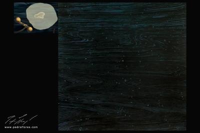 Vuelo. Técnica mixta sobre madera, glicée sobre lienzo. 120x157 cm.